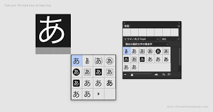 Adobe Photoshop テキストレイヤーを選択した時に表示される字形パネルを