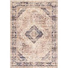 vintage donna fl blue 5 ft x 8 ft area rug