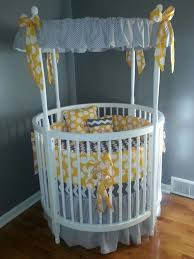 Modern White Round Baby Crib with Amazing Gray Themed Canopy Accessories  also White Circle Pattern Yellow