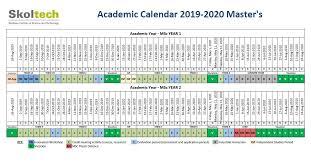 Skoltech Msc Academic Calendar 2019 2020