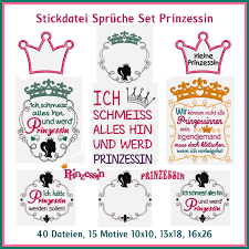 Stickdatei Sprüche Set Prinzessin Rock Queen Stickdateien