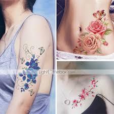9 Pcs Tetovací Nálepky Dočasné Tetování Kytky Voděodolné Tělesné