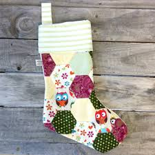 Handmade Christmas Stockings Owl Hexagon Christmas Stocking Joannasattic