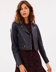 stylish whistles crop leather jacket black for women