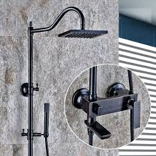 luxury oil rubbed bronze bathtub shower set mixer tap faucet antique rain head bathroom adjust