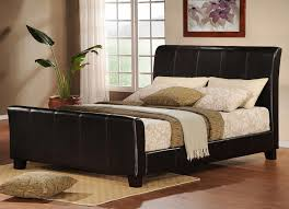 black upholstered sleigh bed. Oxford Creek Queen Size Sleigh Bed Faux Leather - Home Furniture Bedroom Beds Black Upholstered