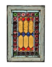 1880 s antique american salvaged chicago interior residential stained glass window with richly colored