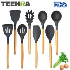 kitchen utensils images. TEENRA 8Pcs Food Grade Silicone Kitchen Utensils Set Non-stick Cooking Tools Utensil Images
