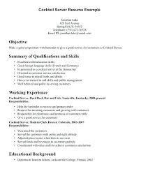 restaurant resume objective example of a server resume cocktail server resume objective inside