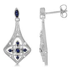 blue sapphire and diamond chandelier earrings sterling silver 1 27ctw