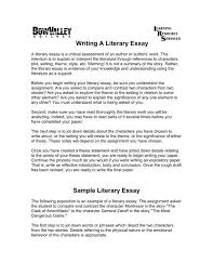 Example Of A Analysis Essay Writing A Literary Essay Bow Valley College