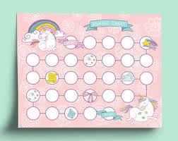 Unicorn Star Chart Unicorn Reward Chart Etsy