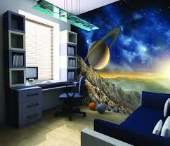 Space Themed Bedroom Galaxy Wallpaper Mural Kool Rooms For Kool Kids