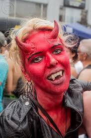 red devil makeup horns fangs blonde devil horns face paint