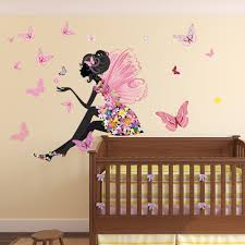flower fairy wall sticker scene erfly wall decal girls room nursery decor