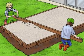how to lay a patio using a brick line
