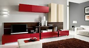 living room color ideas. Red Cabinets And Wooden Shelves Completing Elegant Living Room Color Ideas Near White Sofa Carpet