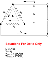 delta and wye circuit equations 3 phase delta balanced load diagram