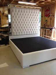 tufted upholstered bed. White Faux Leather King Size Bed Tufted Upholstered Platform With Mirrors Headboard Extra Tall