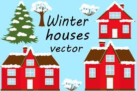 Set Winter Houses Vector Illustration Graphic By Shishkovaiv Creative Fabrica