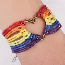 Handmade gay pride friendship bracelet