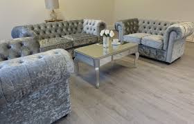 home and furniture chesterfield. Empire Grey Silver Crushed Velvet Chesterfield Sofa Suite Home And Furniture E
