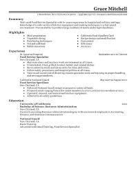 Sample Resume For Food Service