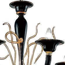 modern black and gold murano glass chandelier 24kt