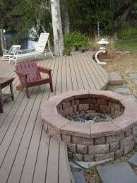 fire pit built into deck
