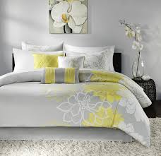gray and yellow bedding. Exellent Yellow Amazoncom Madison Park Lola Queen Size Bed Comforter Set In A Bag   Yellow Grey Floral Flowers U2013 7 Pieces Bedding Sets Cotton Sateen  Gray And Yellow N