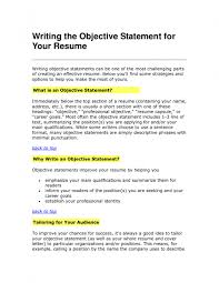 examples of a good objective for resume in writing objectives ...