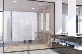 Modern Bathroom Design Pictures Fascinating Panoramic Modern Bathroom Interior With A Light Wooden And Glass