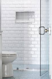 behind a seamless glass walk in shower enclosure white beveled surround tiles frame a tiled niche and accenting blue grid floor tiles that continue outside