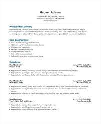 Bartending Resume Template
