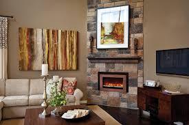 modern living room with brick fireplace. Modern Living Room With Brick Fireplace Example Of A Midcentury .