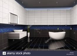 Badezimmer Mit Schwarz Blau Weiß Mauern Innen 3d Stockfoto Bild
