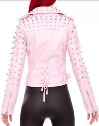 patrika studded pink moto sheepskin biker jacket