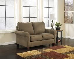 brown fabric sofa bed with double backrest and armrest with short ...