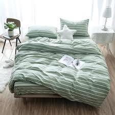 fashionable green duvet cotton duvet cover set green and gray stripe printed bedding set pillowcase duvet