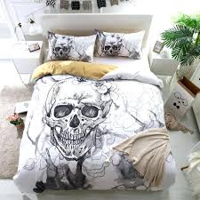 flowers skull duvet cover with pillowcases sugar bedding set queen king size flower soft bed covers