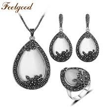 feelgood vintage silver color jewellery big water drop pendant necklace set natural stone white opal jewelry sets for women gift