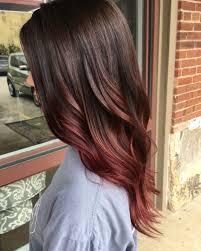 Raspberry Brunette Auburn Balayage Fall Hair Barva Hnědé Vlasy