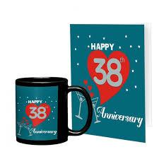 38th marriage anniversary gift printed coffee mug with greeting card