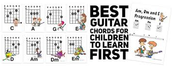 Guitar Chords Chart For Beginners Songs Easy Kids Guitar Songs Using The Chords That Children Should