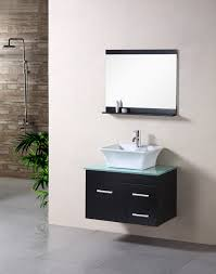 exquisite design ideas using rectangular black wooden vanity cabinets and rectangle black mirrors