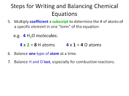 steps for writing and balancing chemical equations