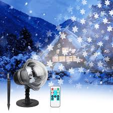 104 Led Snowflake Motion Lights Christmas Projector Lights Led Snowflakes Waterproof Landscape Spotlight Lamp With Remote Control Rotatable White Snow And Base Garden Stake Light For
