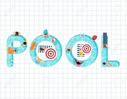Pool Word Summer Feel Design With The Word Pool Royalty Free Cliparts Vectors