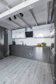 Big Contemporary Kitchen With White Cabinets Metro Tiles And