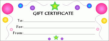 Printable Gift Certificate Templates Gift Certificate Template For Kids Aesthetecurator Com